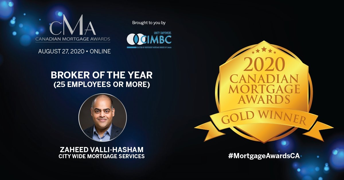Zaheed Valli-Hasham 2020 Mortgage Broker of the Year